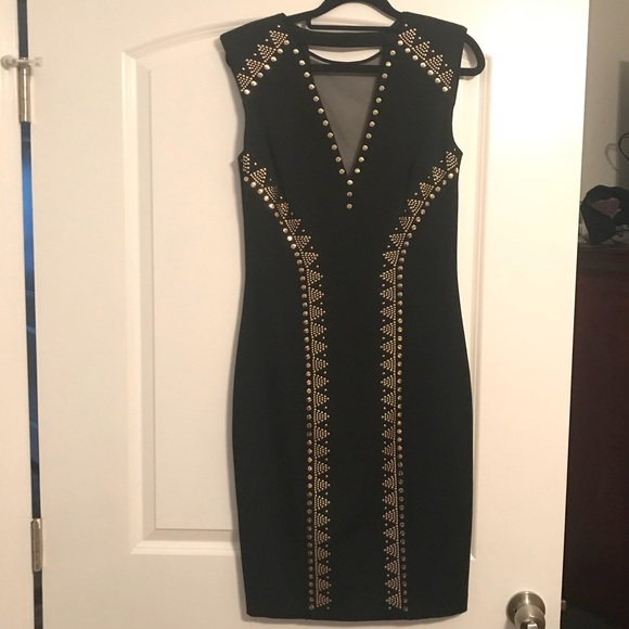 6f7c182608c Cache Size 8 Black Gold Cocktail Dress NWT
